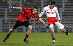 Cadbury Ulster Under 21 Football Championship Semi-Final, Casement Park, Belfast 4/4/2012 Down vs Tyrone Down's Ryan McAleenan with Tyrone's Conor McAliskey  Mandatory Credit ©INPHO/PRESSEYE/William Cherry