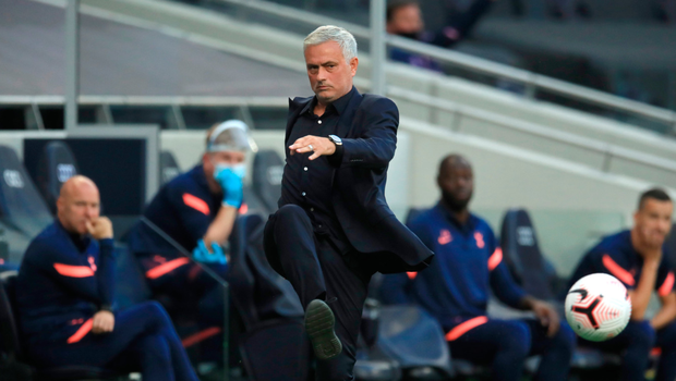 Kicking out: Jose Mourinho, pictured during Tottenham's loss to Everton on Sunday, comes from the theatrical school of management