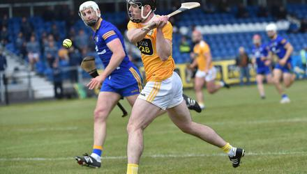 Three pointer: Antrim's Ciaran Clarke scores the only goal during the win over Clare at Corrigan Park