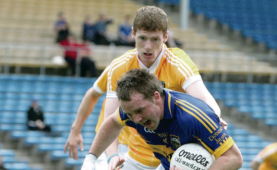 Creggan's new hurler Martin Johnson in his more familiar role as an Antrim footballer