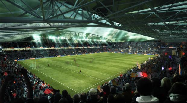 An artist's impression of how Casement Park will look if the project receives planning permission