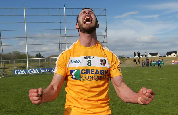 Star man: Antrim's Neill McManus was on form as he helped his county to a famous win over Laois
