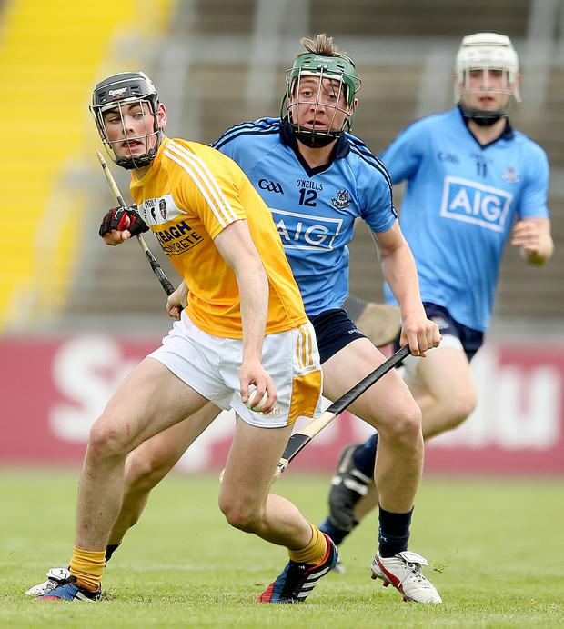 Big battle: Antrim's Gerard Walsh and Dublin's Daire Gray