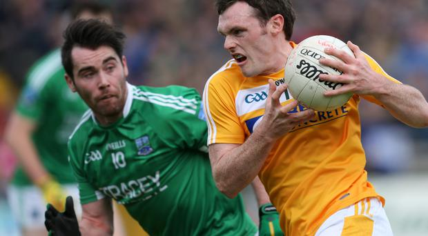 On target: James Laverty hit a point for Antrim