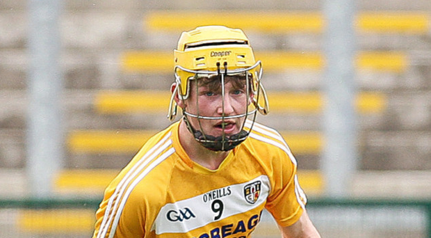 In vain: Antrim's Keelan Molloy was on target but it wasn't enough