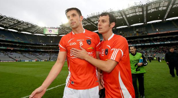 Bright future: Armagh duo Stephen Harold and Jamie Clarke celebrate victory over Meath last week
