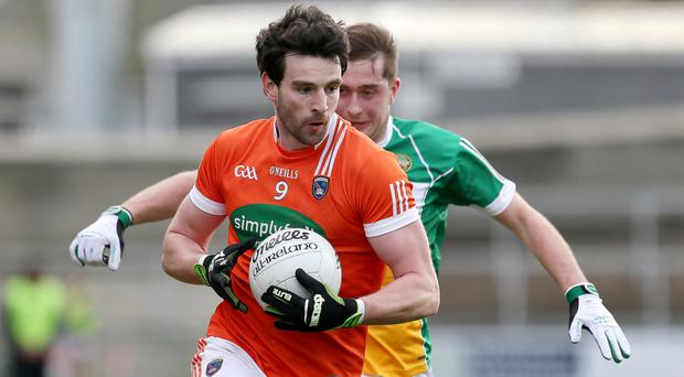 Leading light: Armagh's Aaron Findon was on target as the Orchard boys marched on in the Dr McKenna Cup