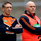 Prime target: Armagh assistant manager Jim McCorry (right, with boss Kieran McGeeney) believes the Orchard can reach the Super 8s this year after missing out in 2018
