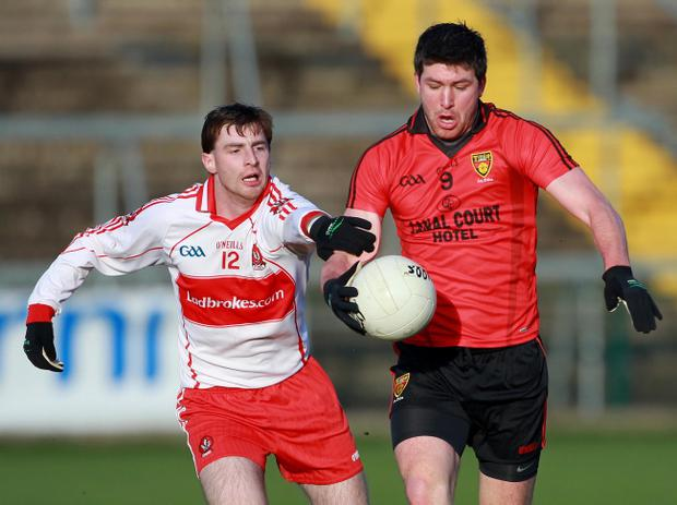 Derry's Gerard O'Kane (left) is set to return against Wexford