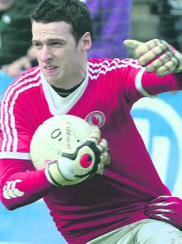 Keeper Niall Morgan can also hit the target