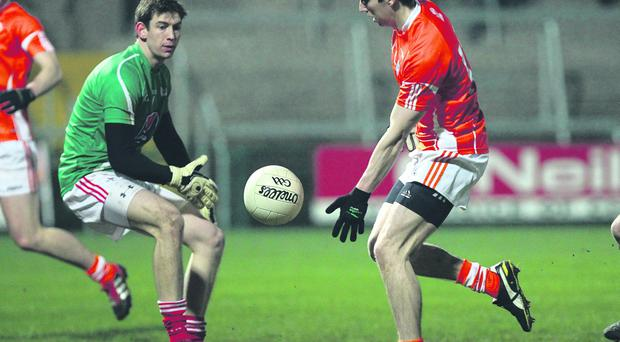Tony Kernan scores for Armagh, but his goal wasn't enough to prevent a defeat to Louth