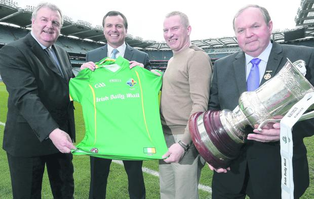 Launch of the International Rules Series, Croke Park, Dublin 20/3/2013. From left to right, selector Seamus McCarthy, Irish International Rules team manager Paul Earley, selector Tony Scullion and GAA President Liam O'Neill