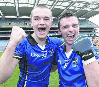 Masita GAA All Ireland Colleges Senior Football A Championship Final, Croke Park 13/4/2013 St.Patrick's Classical School, Navan vs St.Patrick's College, Maghera St.Patrick's College's Stephen O'Hara and James Kearney celebrate after the game Mandatory Credit ©INPHO/Morgan Treacy