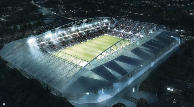 An artist's impression of how the new Casement Park will look by night