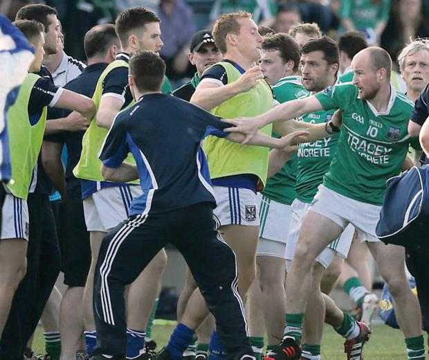 Fine mess: Cavan have been fined €5,000 for their part in this brawl, with Fermanagh awaiting their punishment tonight