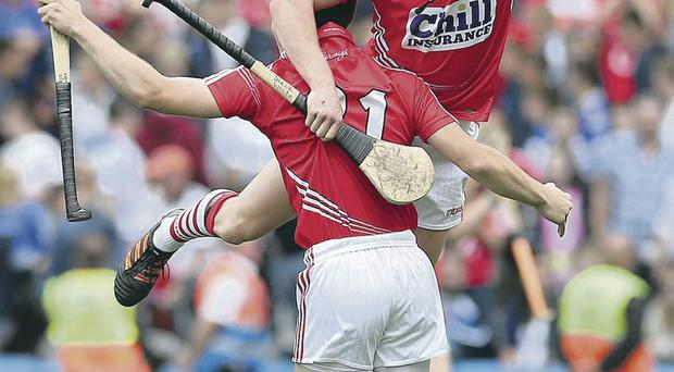 Red for danger: Cork's Stephen White and Rob O'Shea celebrate after the game