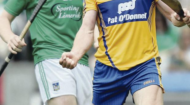 Final fling: Clare's Cian Dillon celebrates victory as Limerick's Shane Dowling shows his dejection