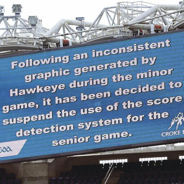 Point taken: screen at Croke Park tells fans that the new goal-line technology has messed up during All-Ireland minor semi-final