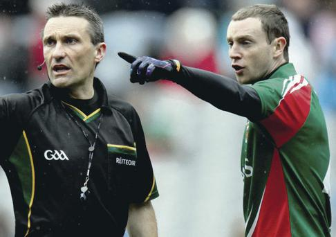 Under fire: Sunday's semi-final referee Maurice Deegan has had his run-ins with Mayo players in the past