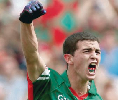 Mayo's Tommy Conroy celebrates scoring his side's third goal of the game