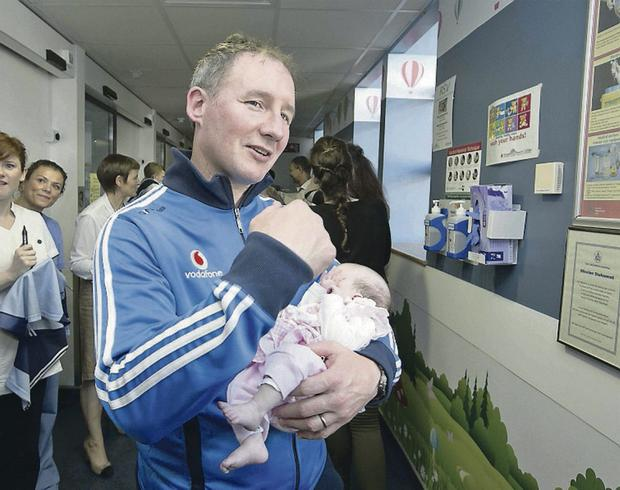 Dublin manager Jim Gavin pictured on a visit to Temple Street Hospital yesterday