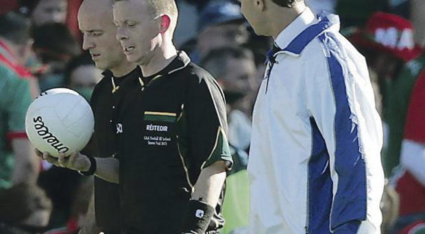 On time: Joe McQuillan and his officials have received the backing of referees chief Pat McEnaney