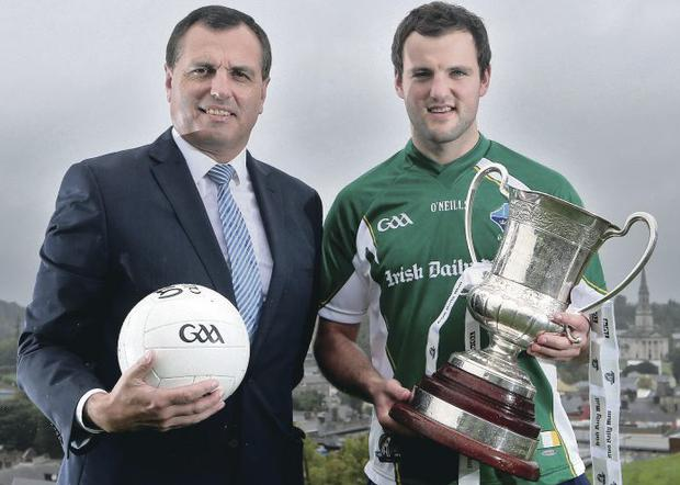 The chosen one: Paul Earley and Michael Murphy at the International Rules Series launch yesterday