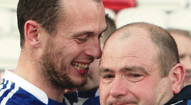 Tears of joy: Emotional Ballinderry manager Martin Kinless at the final whistle