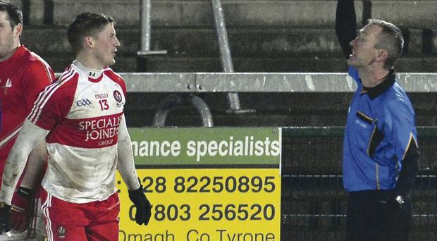 Referee Brendan Rice became the first person to use the black card against Derry's Declan Mullan