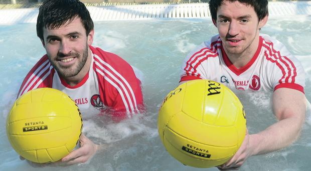 Derry's Mark Lynch (left) and Tyrone's Mattie Donnelly at the launch of Setanta Sports' coverage of the National League