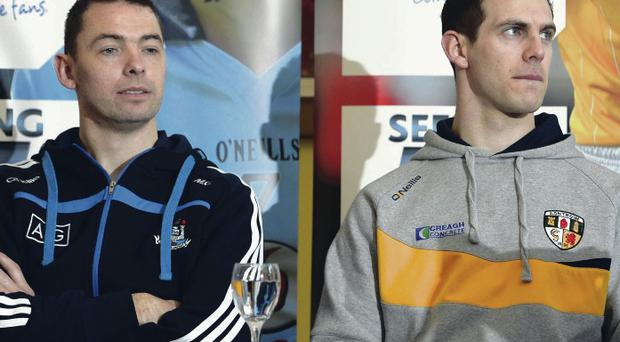 Raring to go: Dublin's Michael Carton and Antrim's Neil McManus (right) at yesterday's Allianz Leagues launch in Belfast
