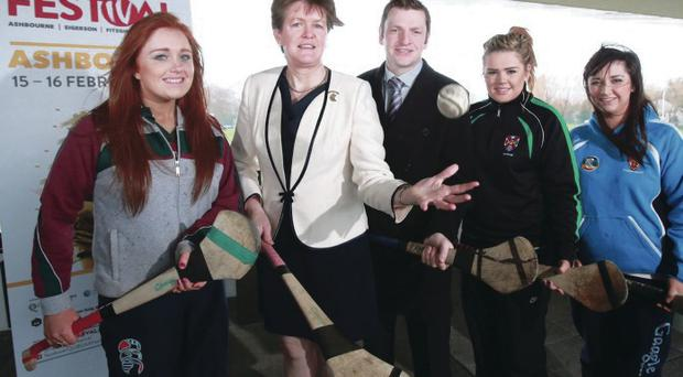 Up for cup: Camogie Association President Aileen Lawlor, HE Chair Shane D'Arcy and players Eimear Dynes (St Mary's), Ruby-Marie Rice (Queen's) and Siofra O'Dolan (UU) at GAA Festival launch