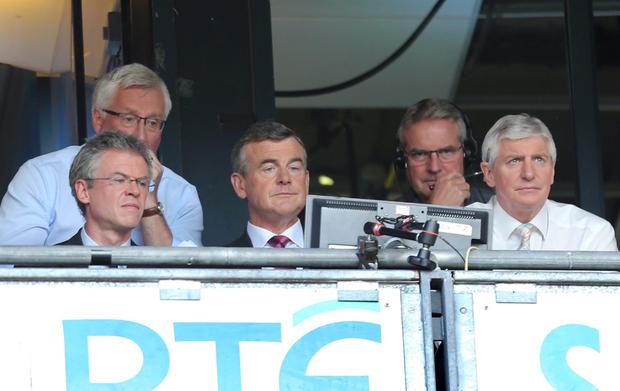 GAA Football All Ireland Senior Championship Semi-Final, Croke Park, Dublin 25/8/2013 Mayo vs Tyrone RTE's Joe Brolly, Pat Spillane, Colm O'Rourke and Michael Lester watch the game Mandatory Credit ©INPHO/James Crombie