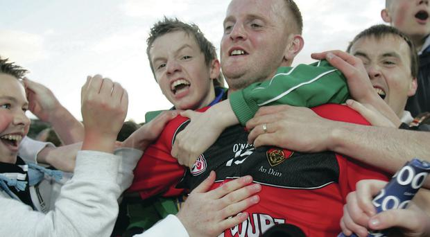 Second chance: Benny Coulter is all smiles after Down defeated Tyrone in the 2008 replay