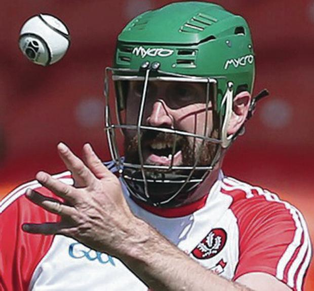 Progress: Derry's Ruairi Convery takes on Armagh