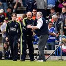 Ulster GAA Football Senior Championship Semi-Final Replay, St TiernachÕs Park, Clones, Co. Monaghan 6/7/2014 Armagh vs Monaghan Armagh manager Paul Grimley and Monaghan manager Malachy O'Rourke shake hands at the final whistle Mandatory Credit ©INPHO/Presseye/Russell Pritchard