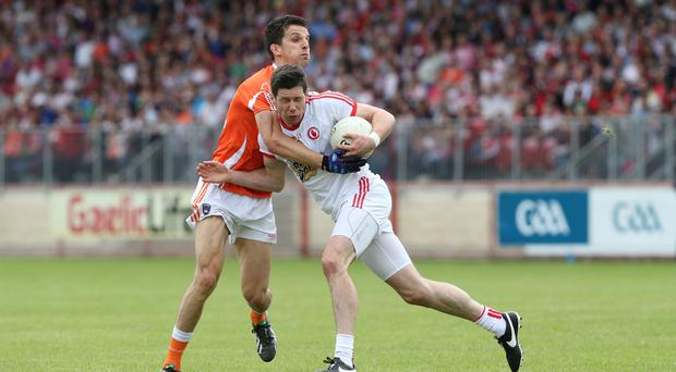 Crunch match: Armagh's Stephen Harold holds up Tyrone rival Sean Cavanagh