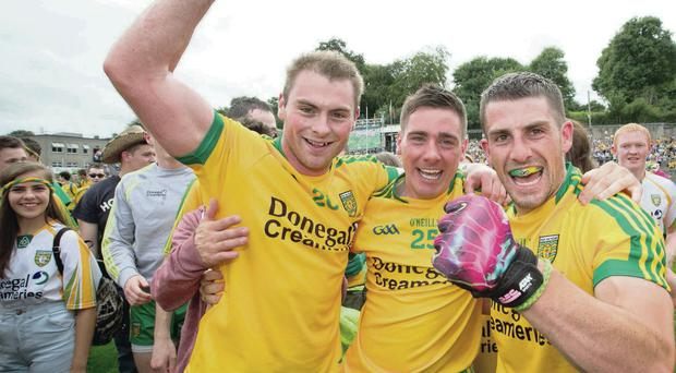 Glory boys: Donegal's Dermot Molloy, Martin O'Reilly and Paddy McGrath celebrate