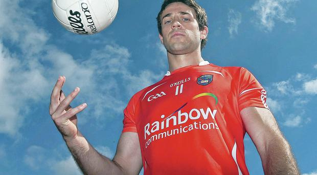 Under orders: Kevin Dyas was permitted to pose for photos at Croke Park but the Armagh board ruled against any media interviews