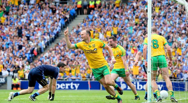 Hotshot: Colm McFadden points to the sky after finding the back of the net
