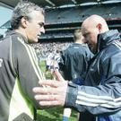 On the up: Donegal manager Jim McGuinness (left) and Monaghan boss Malachy O'Rourke are aiming to build on progress made