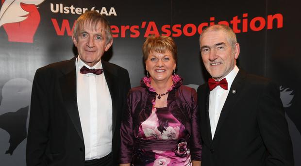 Night to remember: Seamus Woods (left), who received Service to GAA award, with wife Teresa and Tyrone manager Mickey Harte at UGAAWA annual banquet in Bundoran