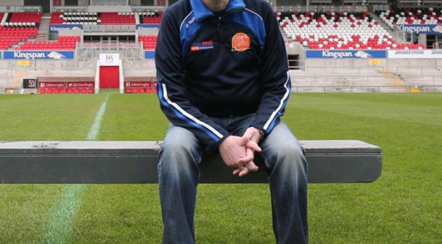 Pitch perfect: Anto Finnegan checks out the Kingspan Stadium ahead of tonight's 'Game for Anto' which will raise awareness and funds to help battle Motor Neurone Disease
