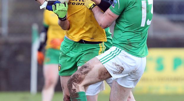 Battle stations: Christy Toye of Donegal with Ryan Jones