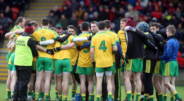 Centre of attention: Donegal boss Rory Gallagher talks to his team during the McKenna Cup