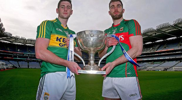 Kerry's Paul Geaney with Seamus O'Shea of Mayo
