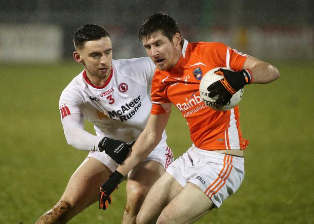 Combative: Tyrone Under-21 skipper Padraig Hampsey