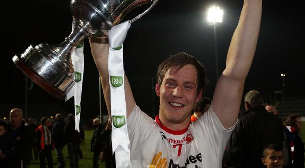 On the up: Tyrone's Kieran McGeary after Ulster U21 Championship success