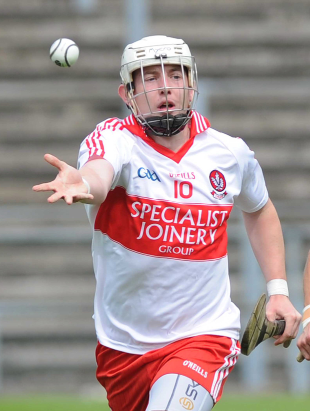 On target: Derry's Paddy Henry found the net to see off London at Owenbeg