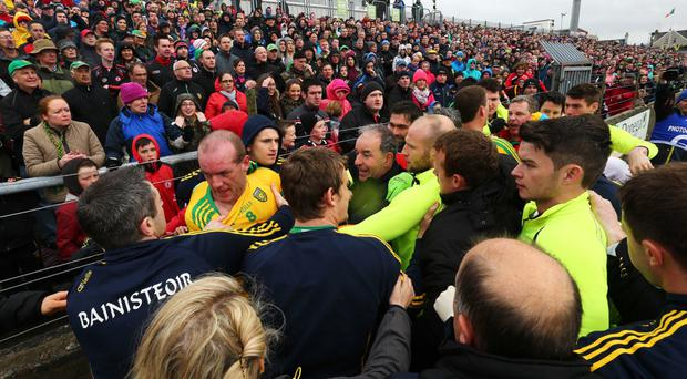 Melee: Half-time scuffles in Tyrone's clash with Donegal